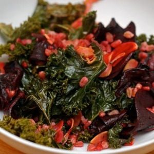 Dinner Tonight: Farro Salad with Roasted Kale and Beets Recipe