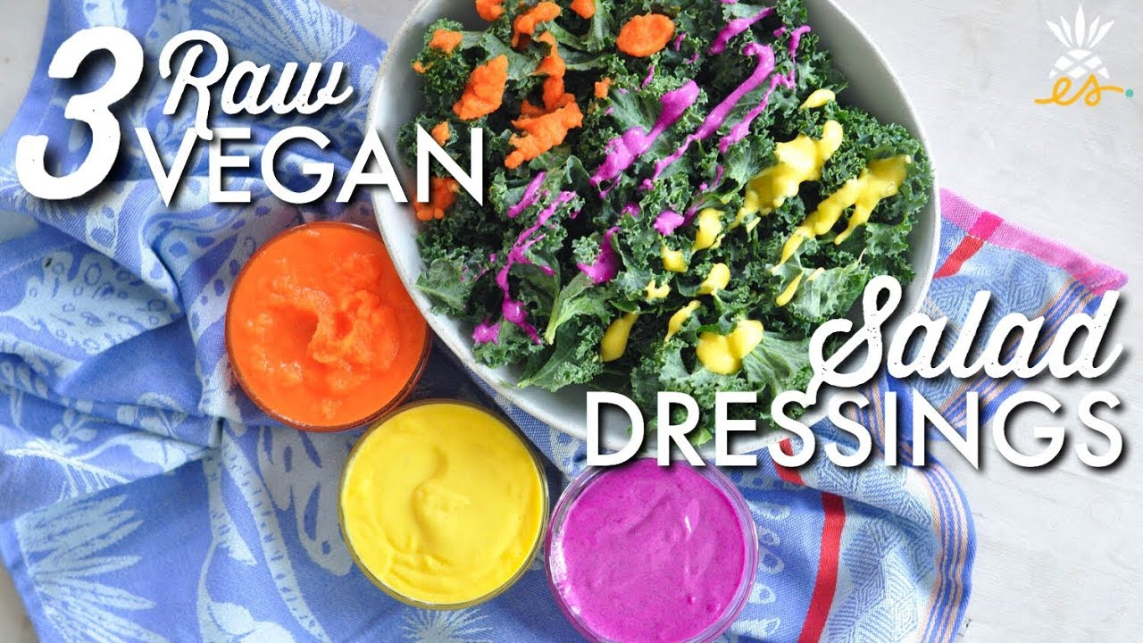 3 Raw Vegan Salad Dressings w/ Only 3 Ingredients! | Easy + Plant-based