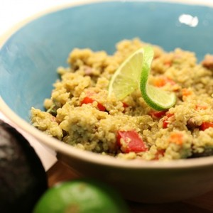 Aztec Quinoa Salad with Pinto Beans and Chili Avocado Lime Dressing