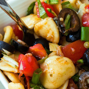 Healthy Orecchiette Pasta Salad with Basil, Olives and Tomatoes recipes