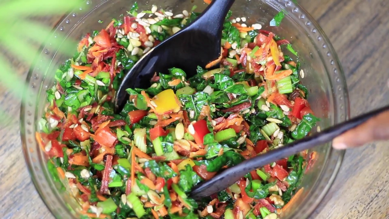 How to : Delicious Kale Salad Recipe | Vegan recipe | Raw food recipe