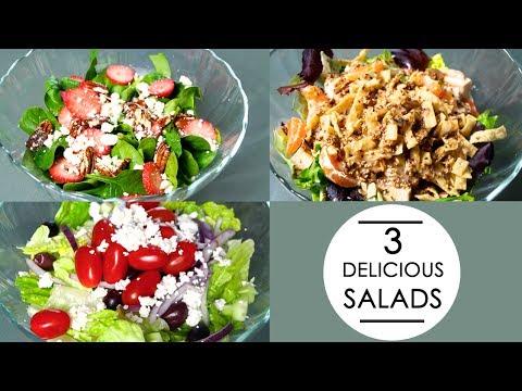 3 SALAD RECIPES! (greek, oriental & spinach)