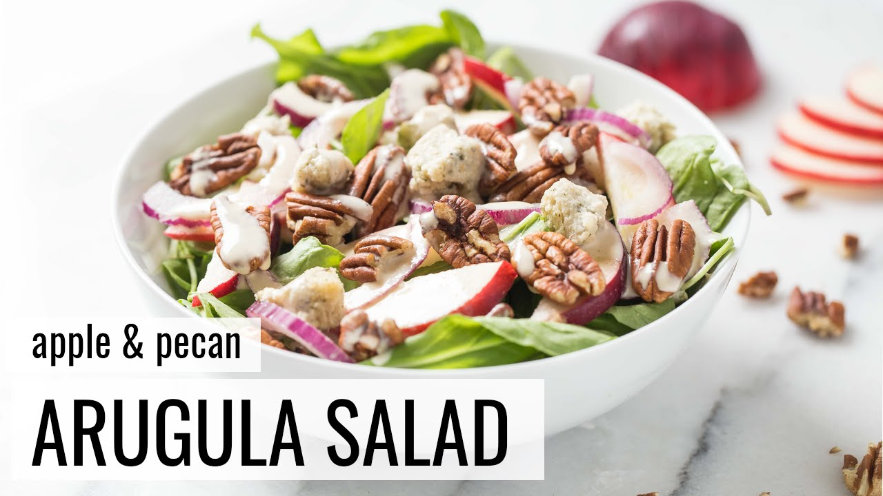 APPLE + PECAN ARUGULA SALAD | vegan salad recipe | #SALADWEEK