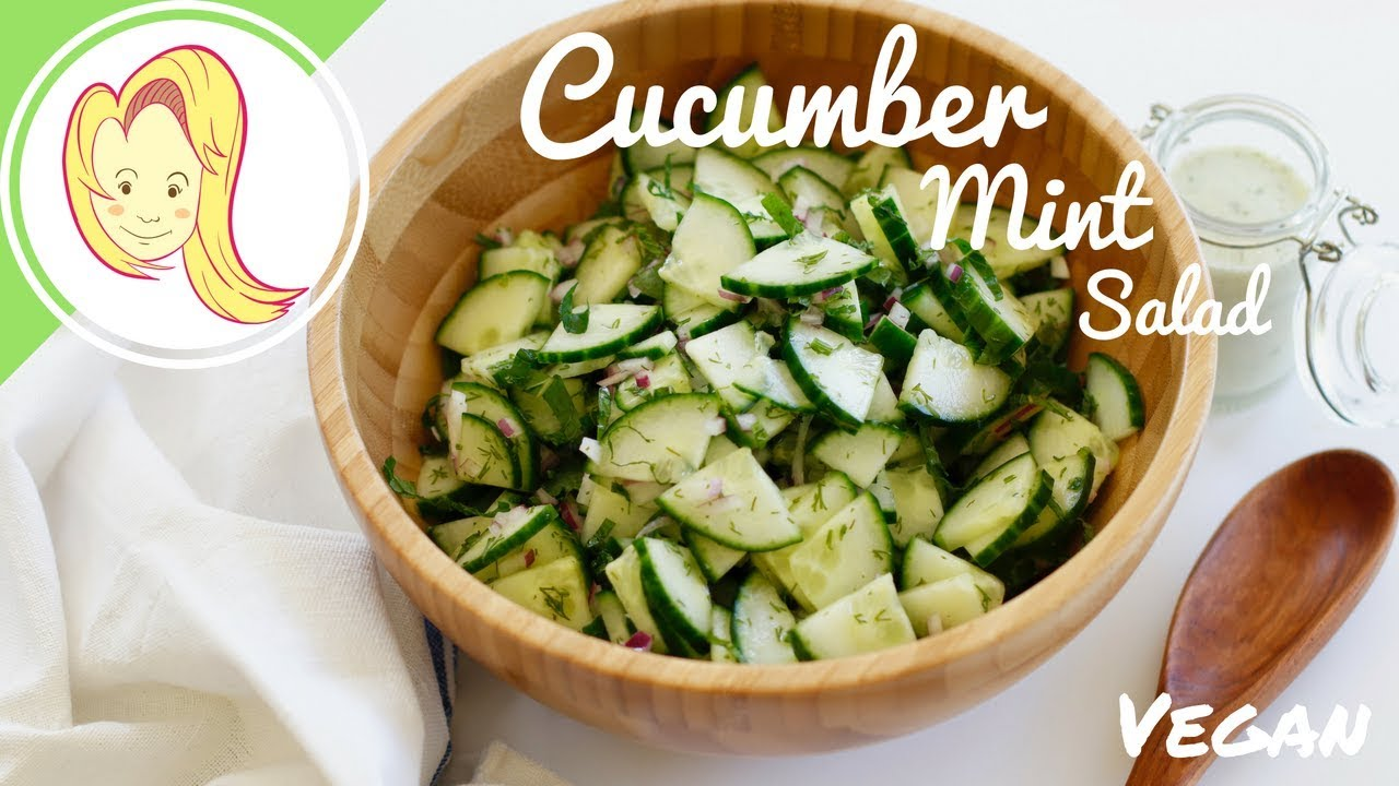 Cucumber Mint Salad with Lemon Mint Dressing (Vegan)