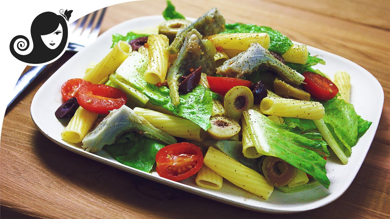 Easy Pasta Salad Recipe with Artichoke Hearts + How to Cook Artichoke (vegan/vegetarian recipe)
