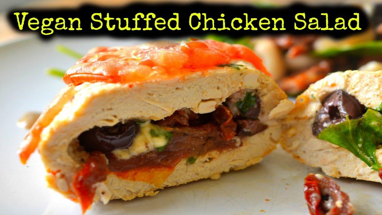 Vegan Mediterranean Stuffed Chicken Salad Recipe (gluten free)