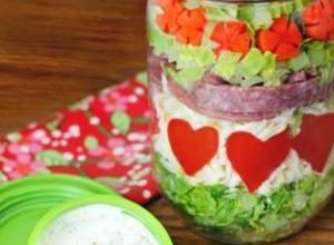 Salad in a Jar with Pepper Hearts