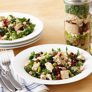 High-Protein Chicken, Kale and Lemon Tahini Salad in a Jar recipes