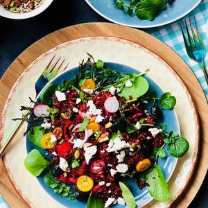 Organic red quinoa with beets and feta salad