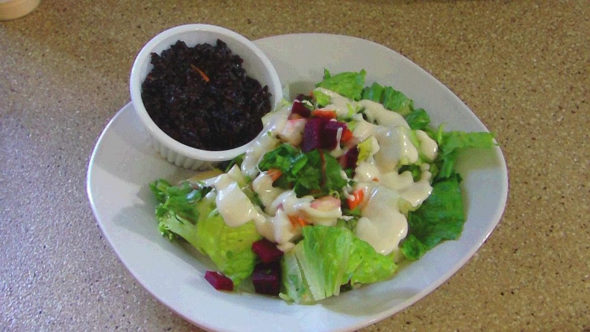 Toss Salad with beets and a side of Black Rice