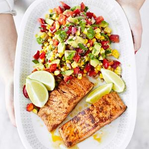 Wild salmon with corn & pepper salsa salad