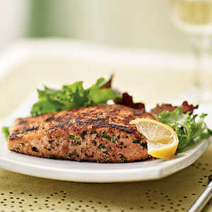 Herb-Crusted Salmon with Mixed Greens Salad