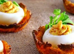 Low-Fat Deviled Eggs on Sweet Potato Nests