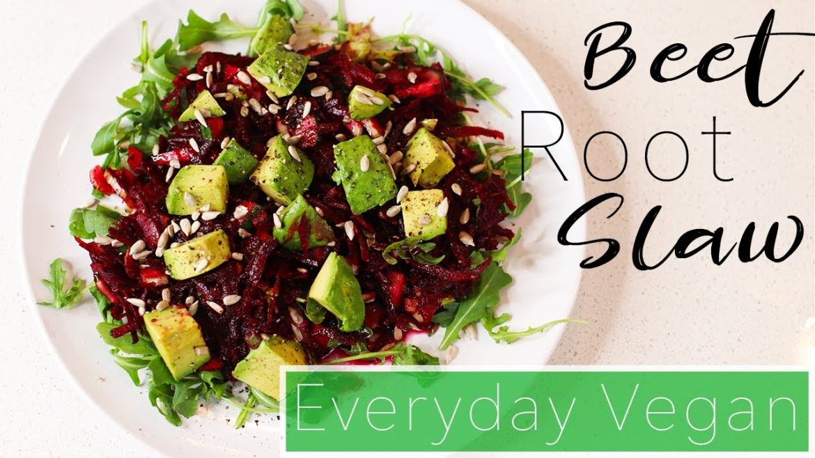 100% Raw Beet Root Slaw with Avocado and Arugula Salad | Healthy Eating Recipes | Everyday Vegan