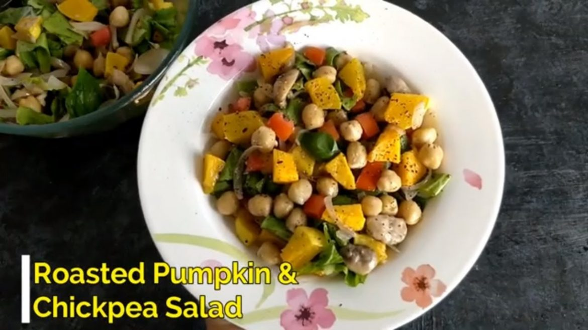 Roasted Pumpkin & Chickpea Salad, Healthy and yum vegan salad recipe