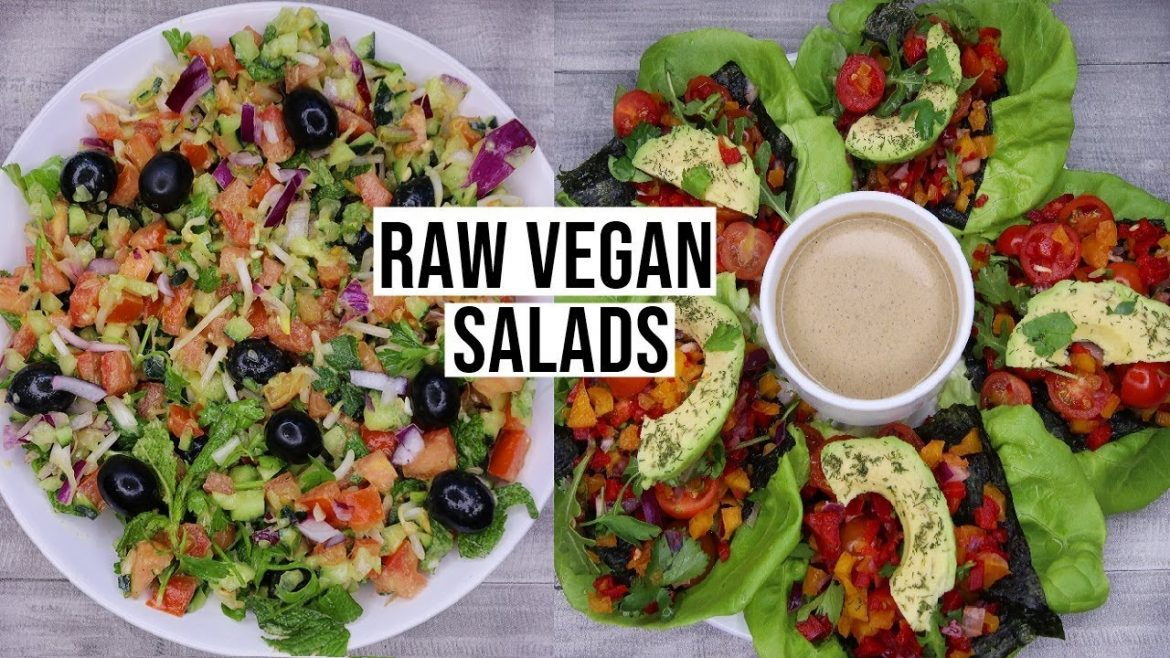 2 DELICIOUS RAW VEGAN SALAD RECIPES! Raw vegan easy recipes for lunch & dinner