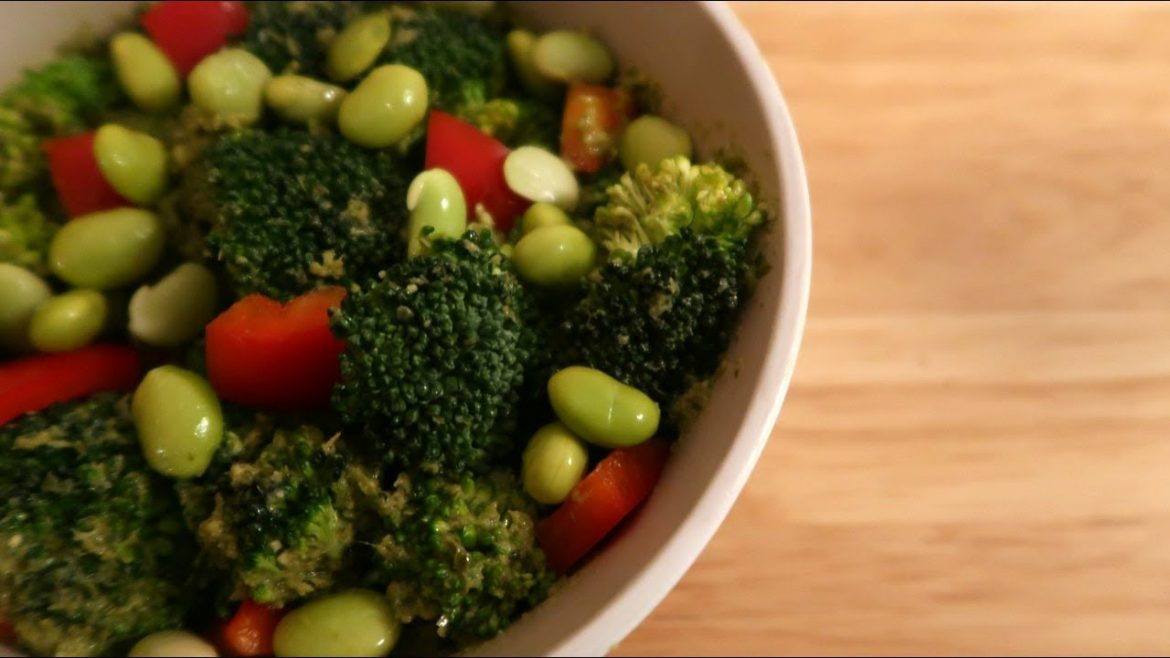 Vegan Broccoli Salad Recipe with Pesto, Peppers and Edamame