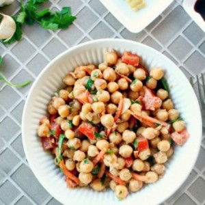 Chickpea Salad with Ground Flax Dressing