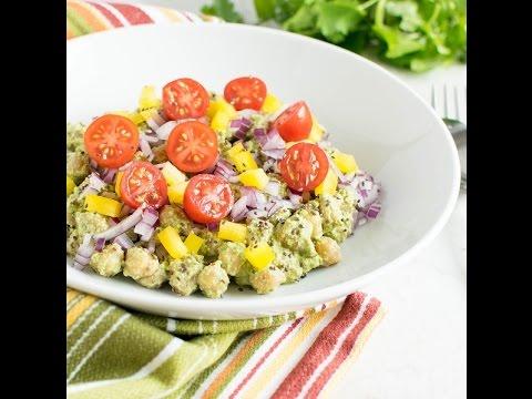 Chickpeas Salad in Cilantro Dip (vegan) | kiipfit.com