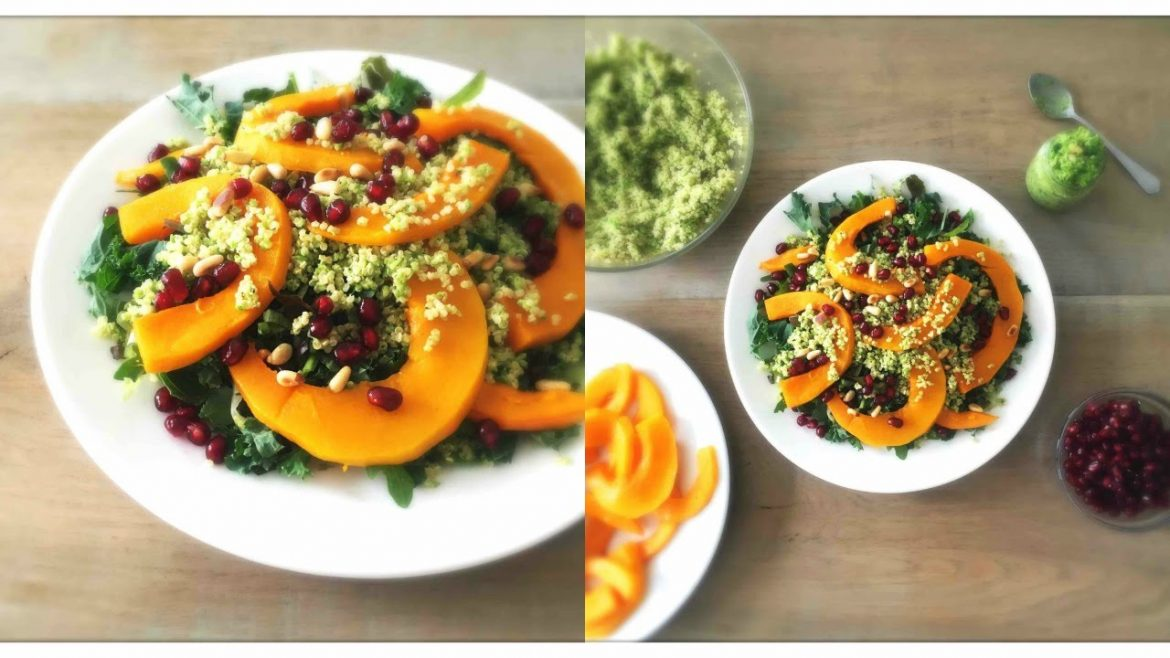 Healthy Vegan Comfort Food – Roasted Pumpkin Quinoa Salad with Mint and Pea Pesto