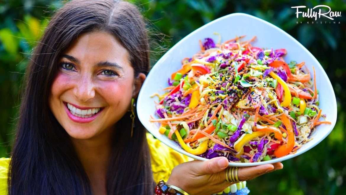 FullyRaw Spicy Sesame Thai Salad! (Raw Vegan Pad Thai)