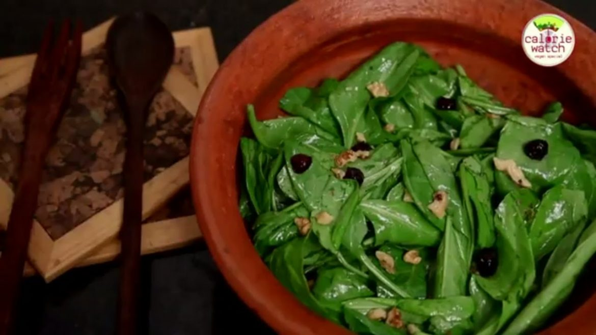 2 Min Salad Recipe – Spinach Salad With Cranberries And Walnuts – Vegan Salad Recipe By Rithika