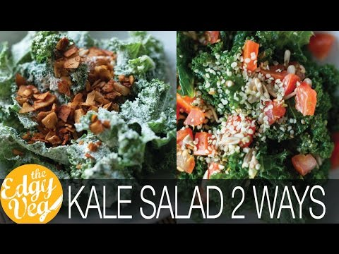 Kale Salad Recipes: Kale VEGAN Ceasar Salad & Kale & Pesto Salad | The Edgy Veg