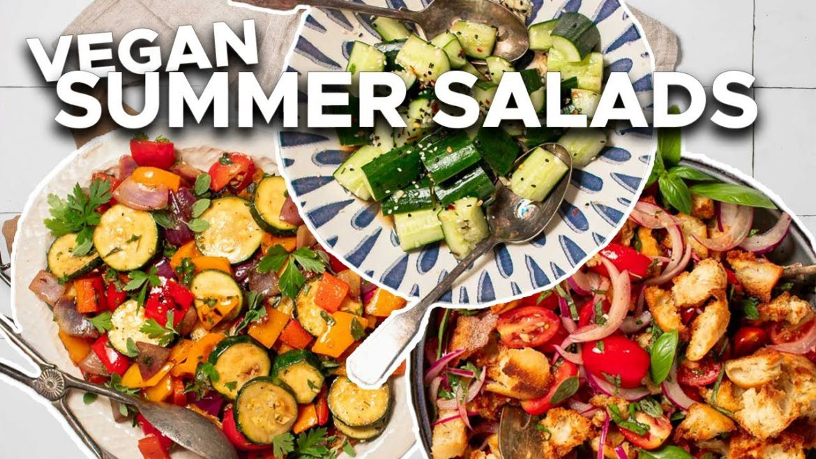Easy Vegan Summer Salads | Toasted Bread Salad, Grilled Veggie Salad, Smashed Cucumber Salad