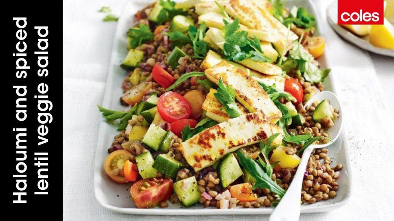 Haloumi and spiced lentil veggie salad