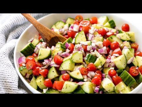How to Make Easy Cucumber Tomato Salad | The Stay At Home Chef