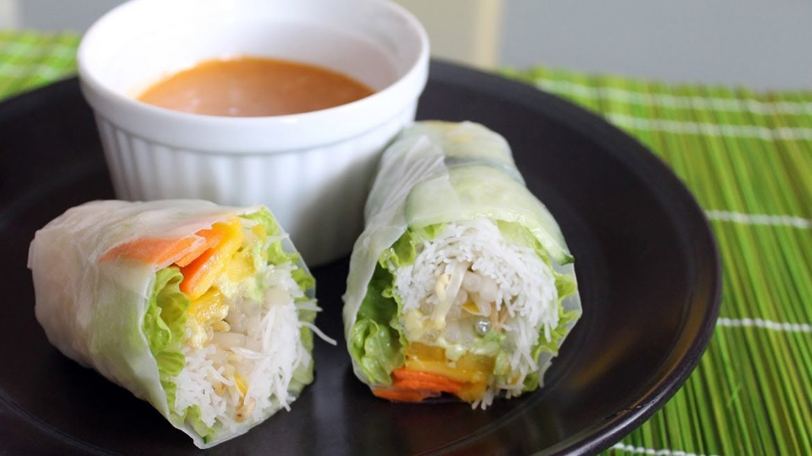 How To Make Salad Rolls | Mango filling with Spicy Peanut Sauce Recipe