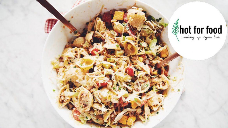 vegan cheeseburger pasta salad (summer BBQ side ideas ep #2)   hot for food