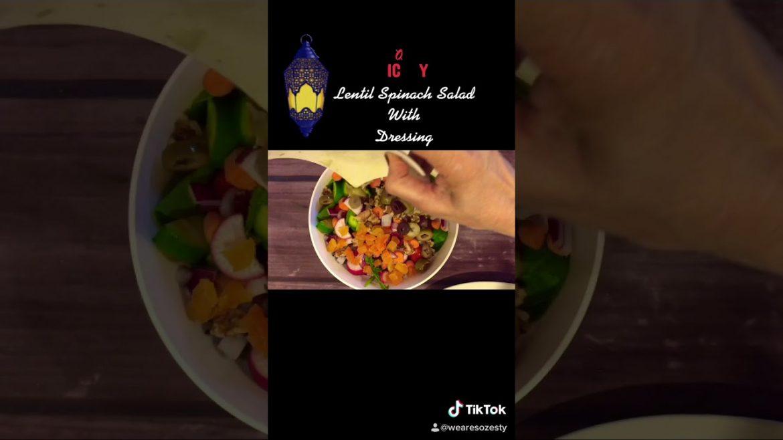 Lentil Spinach Salad with Dressing #recipe #lentilsalad #dressingrecipe