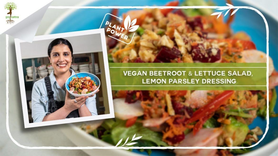 Vegan Beetroot & Lettuce Salad with a Lemon Parsley Dressing