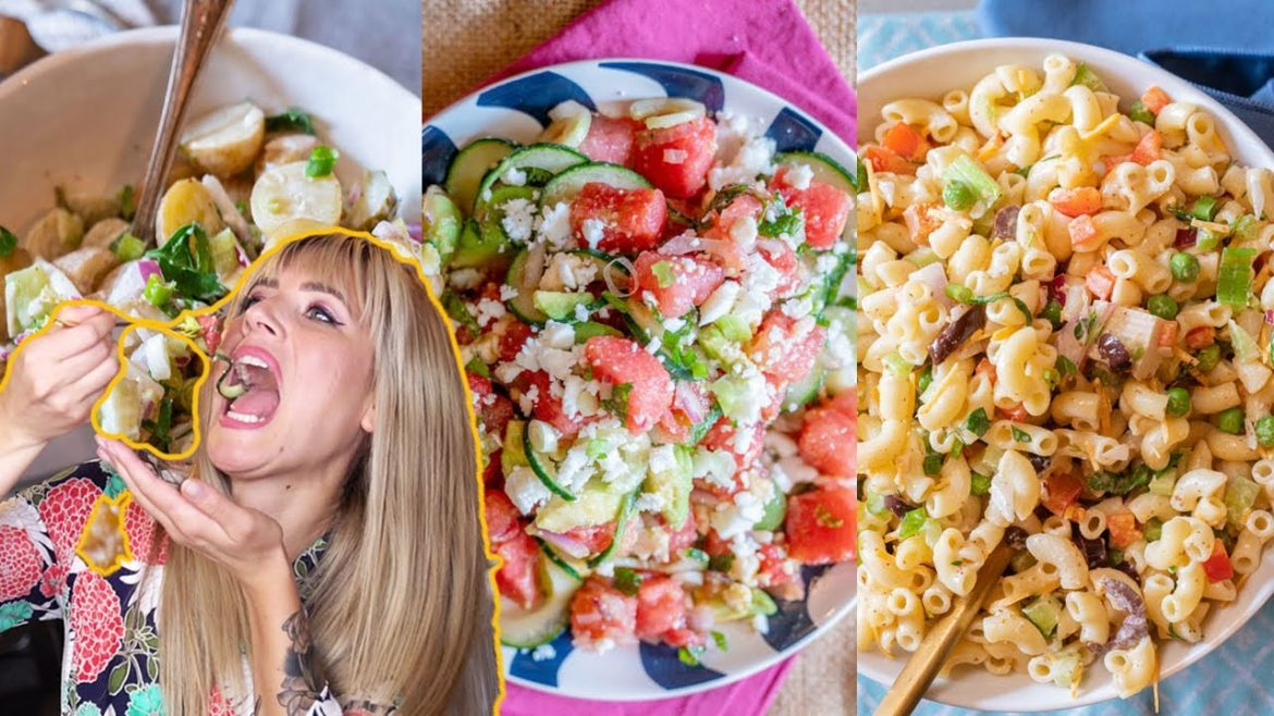 3 Easy Vegan Salad Recipes | Vegan Macaroni Salad, Potato Salad & Watermelon Feta Salad